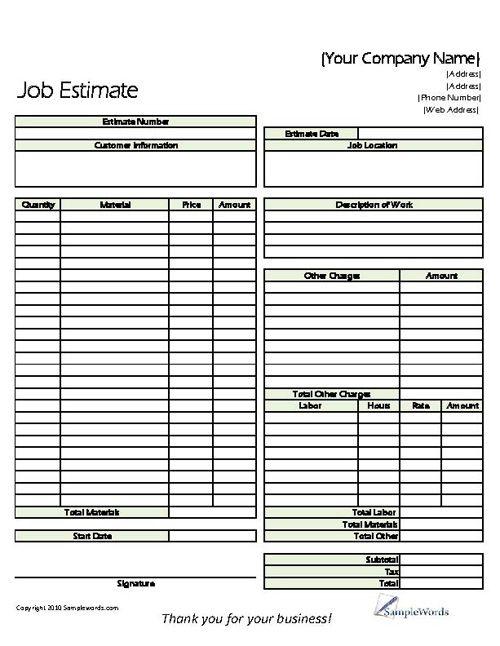Job Estimate Form