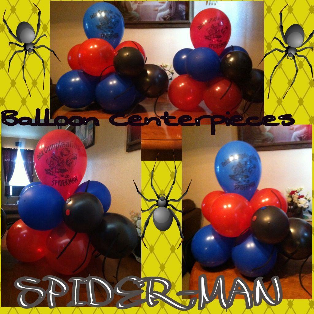 Spiderman Theme Balloon Table Centerpieces Spiderman Birthday