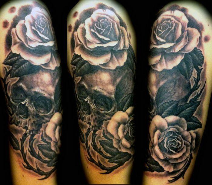 Skull Roses Tattoos For Sleeves Sleeve Tattoos Sleeve Tattoos