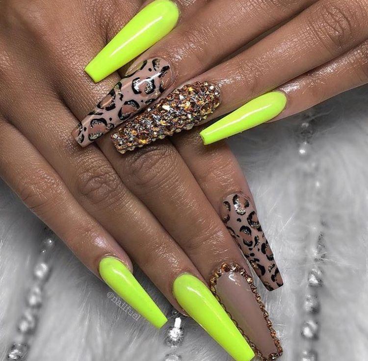 Leopard Print Neon Yellow Acrylic Nails Leopard Print Nails Cheetah Acrylic Nails Cheetah Print Nails