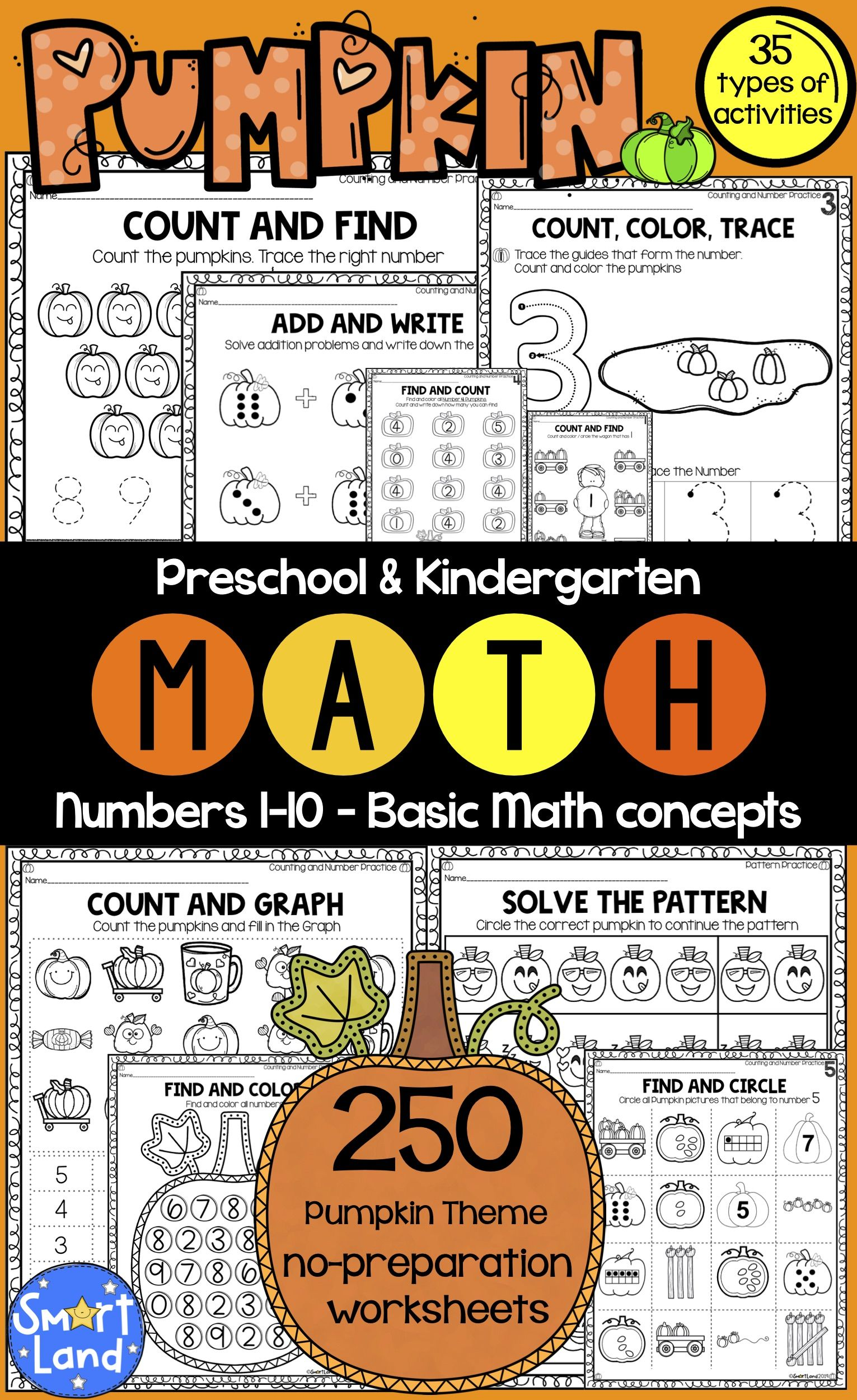 Numbers 1 10 Fall Math Worksheets Bundle 250 Pages 35