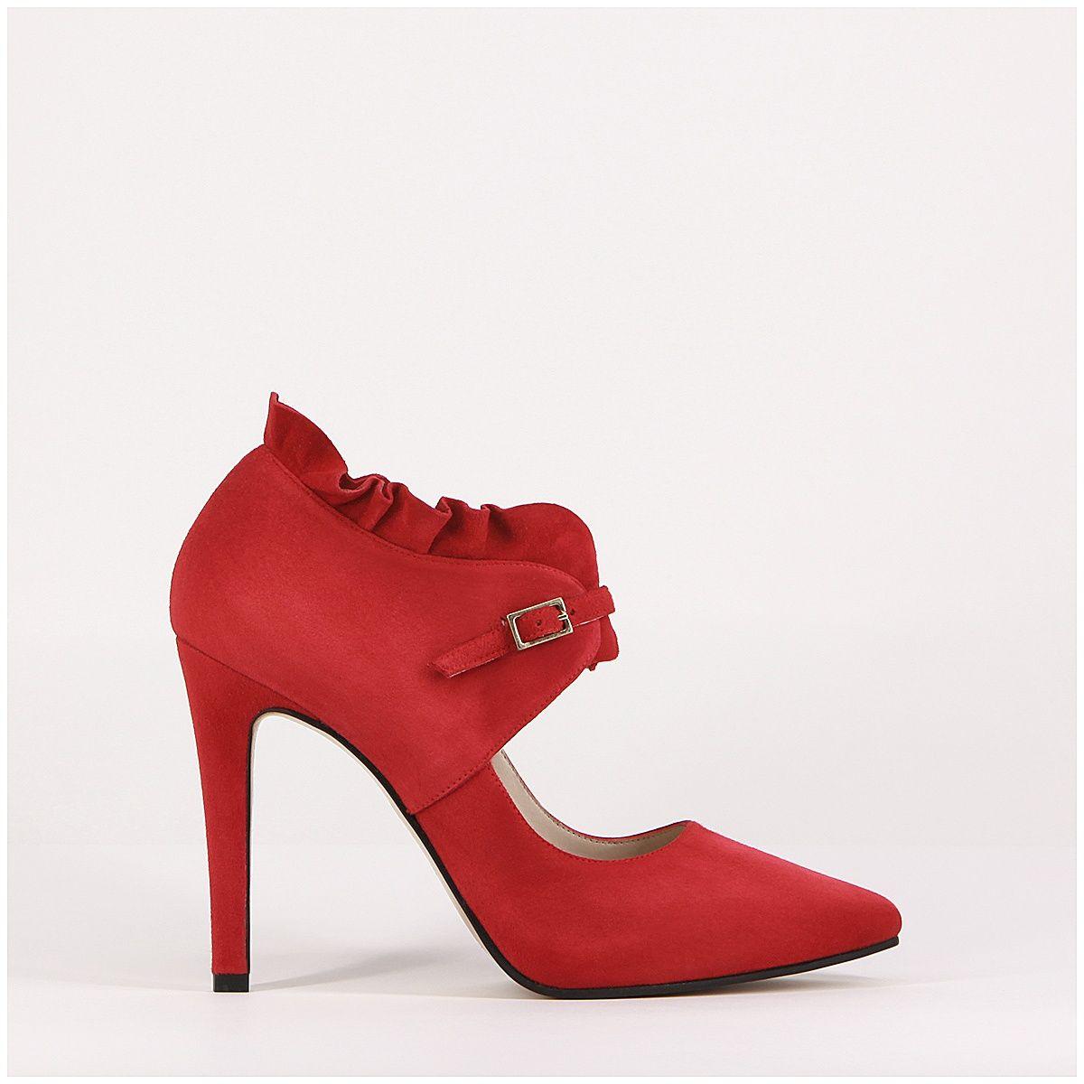 3ccf66a2 Zapato de salón con volantes en rojo Sabia | LODI | Zapatos ...