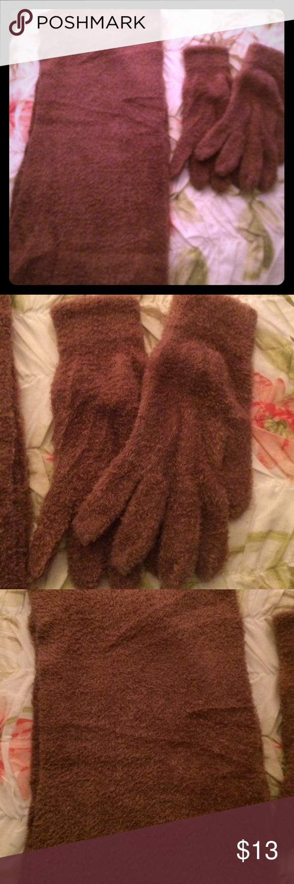 Soft scarf and glove set BNWOT Never worn. Light brown/tan. Super soft and comfortable, doesn't match my winter coat 😬. 100% nylon. Accessories Scarves & Wraps