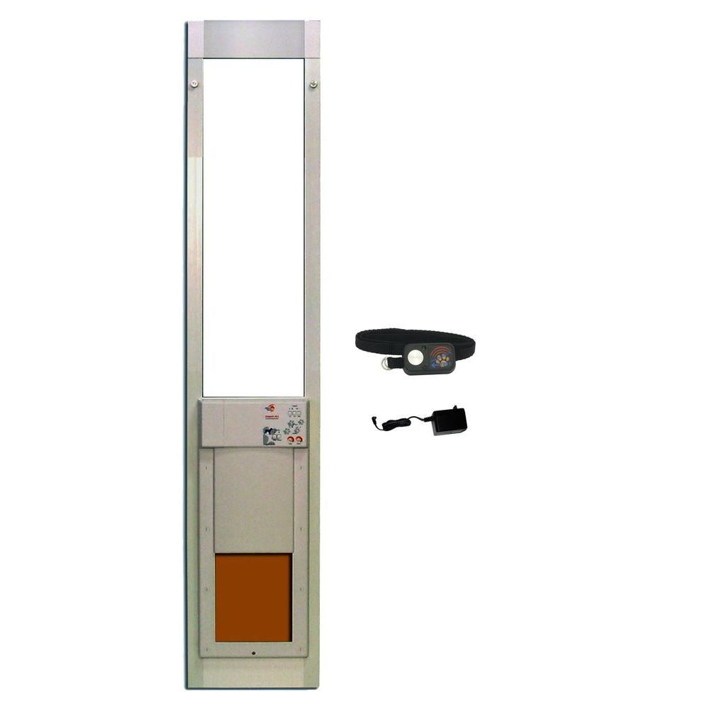 High Tech Pet 8 1 4 In X 10 In Power Pet Fully Automatic Patio Pet Door With Dual Pane Low E Glass Regular Track Height Px1 Sre Pet Door Window Pet Door Locker Storage
