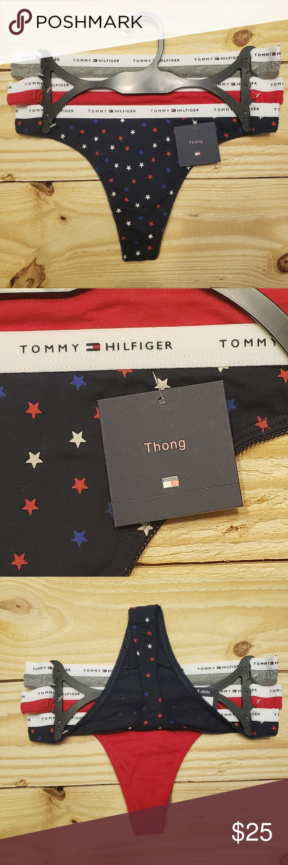 58a0e59f57b Tommy Hilfiger Women Thong Underwear 3 Pack cotton NEW Tommy Hilfiger  Women s Thong Underwear 3 Pack Panty Size  Multiple sizes Color  (Assorted)  Red