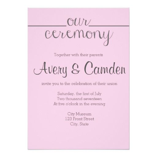 Our Ceremony Script Wedding Invitation- Pink