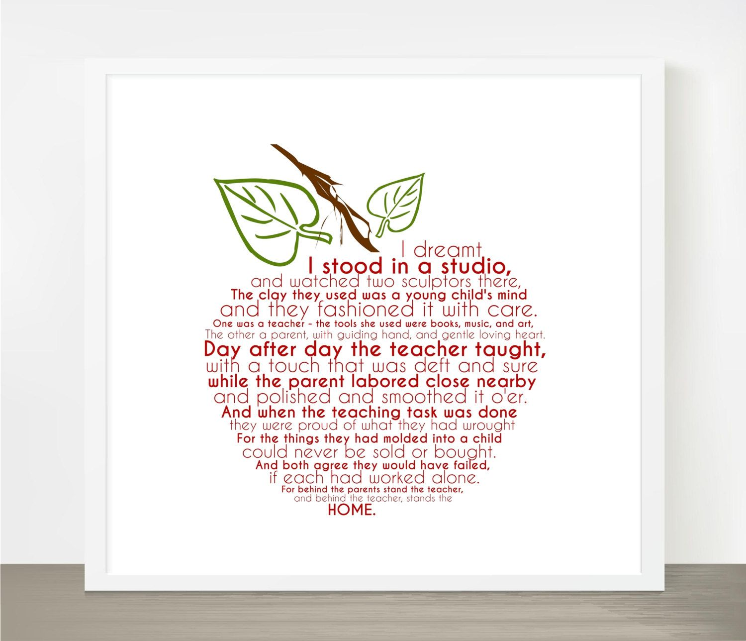 Beautiful Quotes For Teachers Day Cards: Teacher Appreciation Gift Apple Word Art 8x8 By