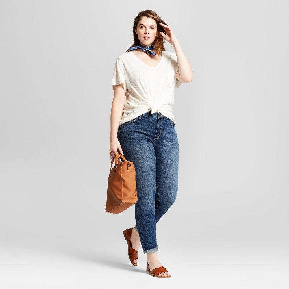 Womenus plus size skinny jeans universal thread medium wash w