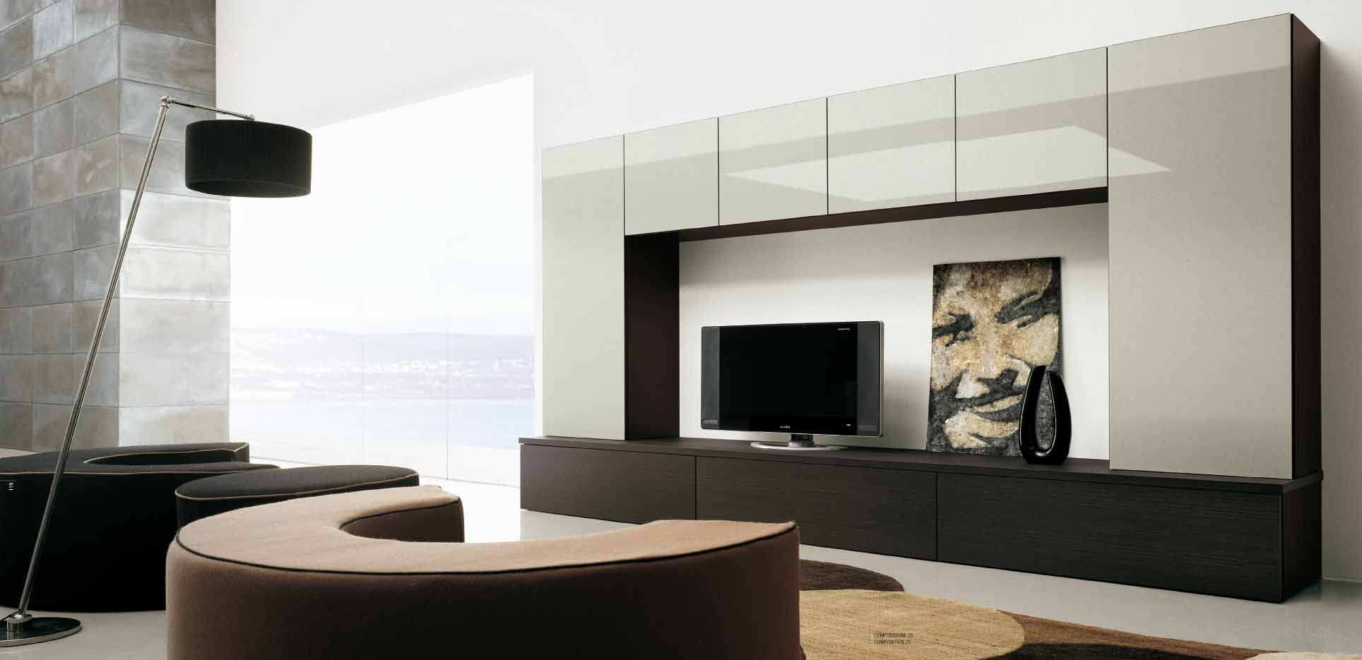 Elegant Style Living Room Idea With Wall Units Using Black TV LCD Also Drum  Shaped Black. Moderne SchrankwändeTv ...