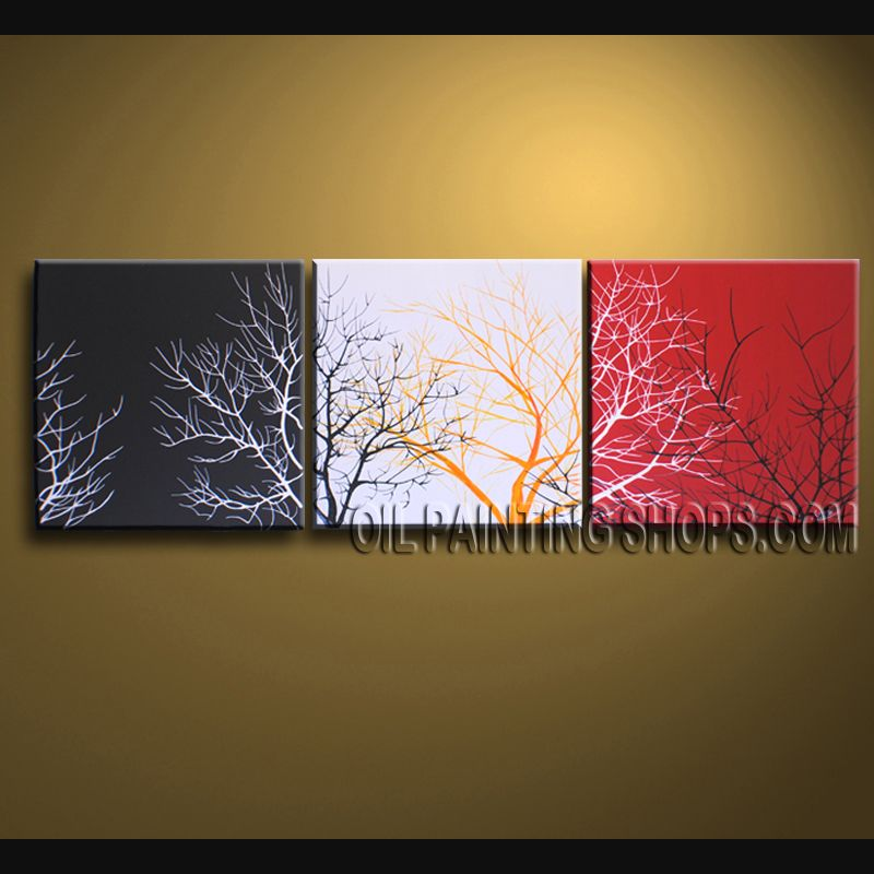 Stunning Wall Decorating Ideas Hand-Painted Art Paintings For Living Room Tree. This 3 panels canvas wall art is hand painted by Bo Yi Art Studio, instock - $116. To see more, visit OilPaintingShops.com
