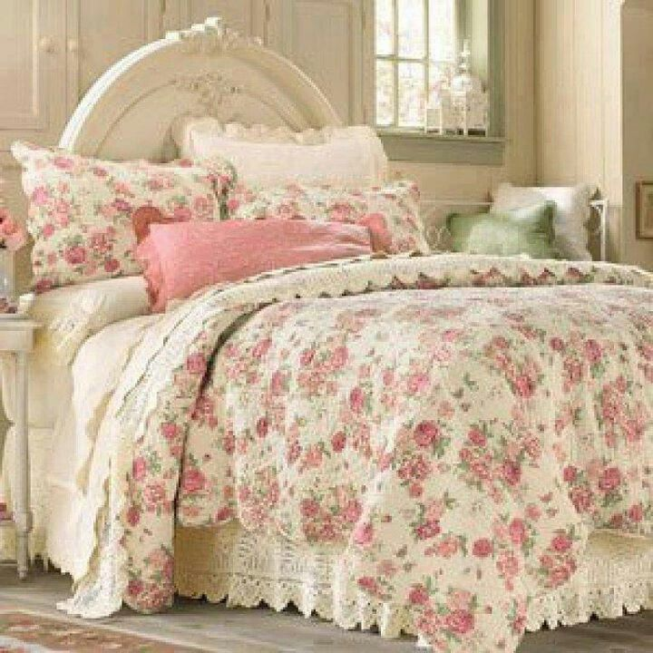 Another French look. Love this.   cozy, comfy cottage bedding ...