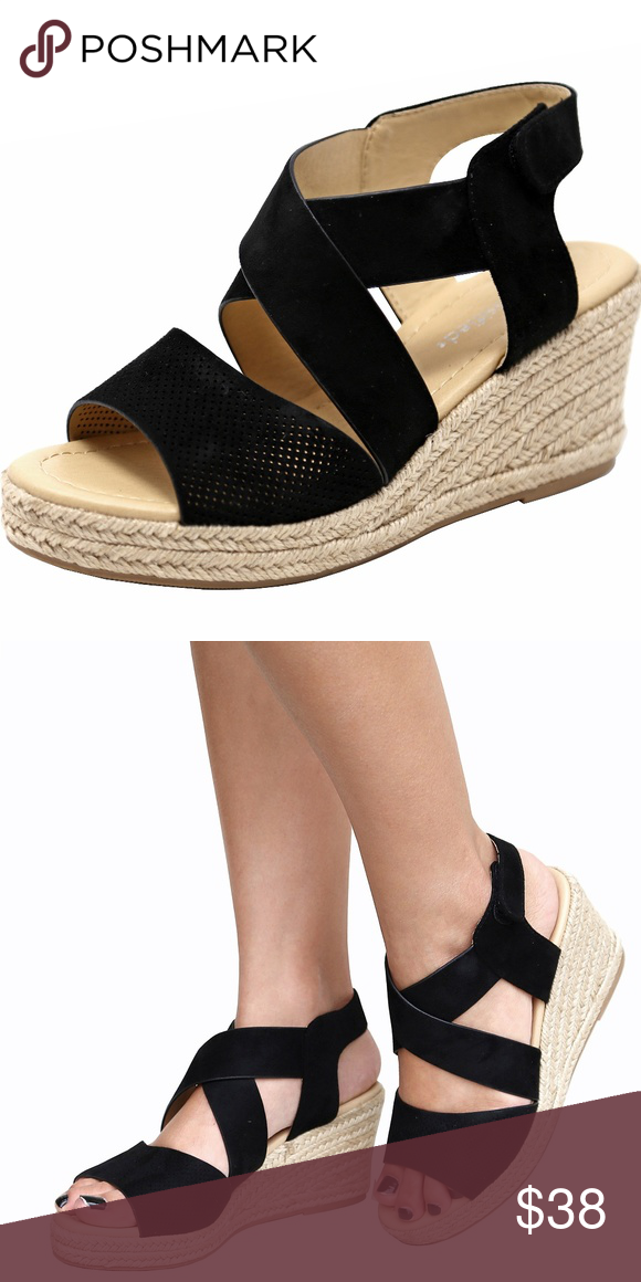 f7fcdfa890b Black Strappy Espadrille Platform Wedge Sandals Spruce up your summer with  these adorable black espadrille wedge