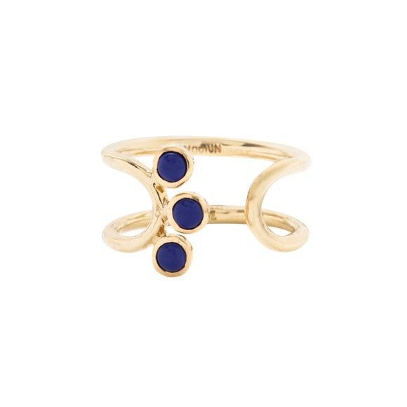 18k Tiffany yellow gold curved link ring with 3 bezel set lapis cabochons. Band measures approx 3.25mm in thickness. Bezel setting measures approx 0.25 in diamater.  For more information please email mociun@mociun.com or call (718) 387-3731