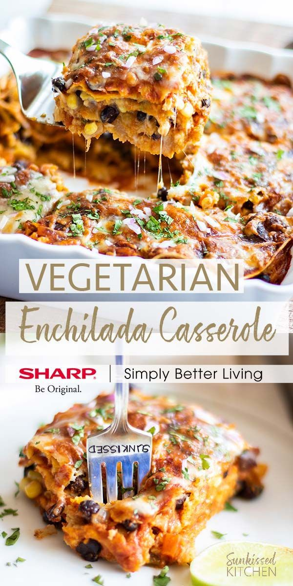 Enchilada Casserole / A healthy casserole recipe made by layering gluten free tortillas, tons of veggies, black beans and cheese. | SUNKISSEDKITCHEN.COM | @sharphomeusa