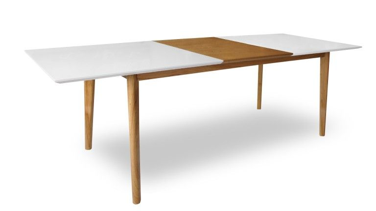 Table diner scandinave blanc avec rallonge bois for Table scandinave avec rallonge