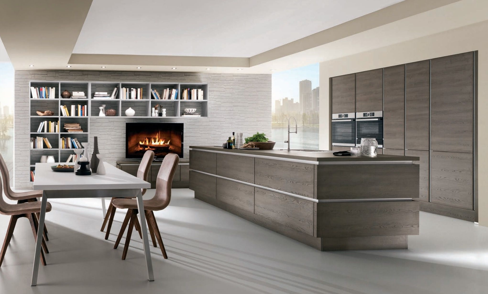 Best Wooden Kitchen Ideas Handleless Wood Effect Kitchen 400 x 300