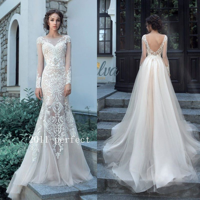Lace Applique Mermaid Wedding Dress With Detachable Train A Line ...