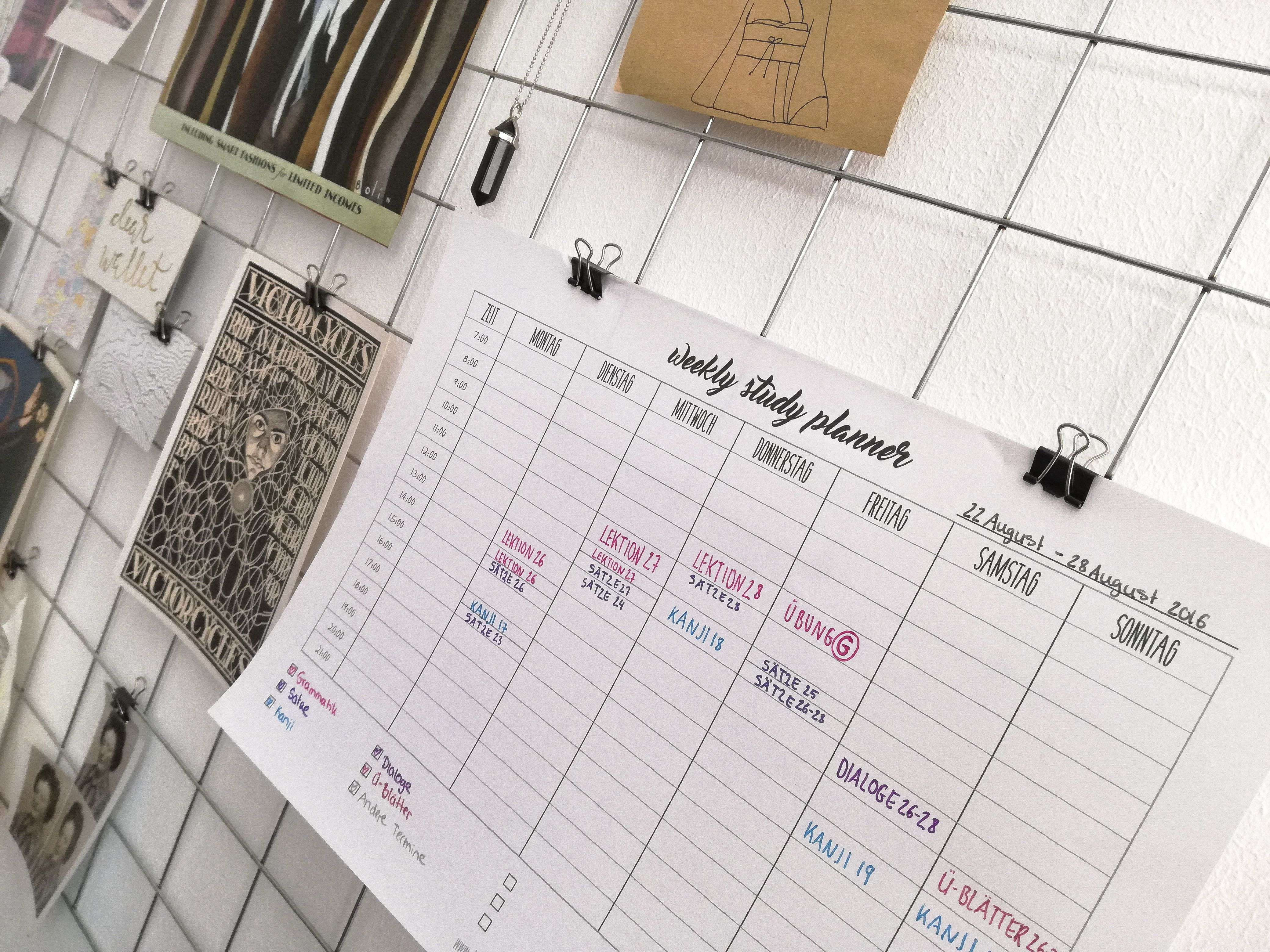 Weekly Study Planner Printable Lernplan Erstellen