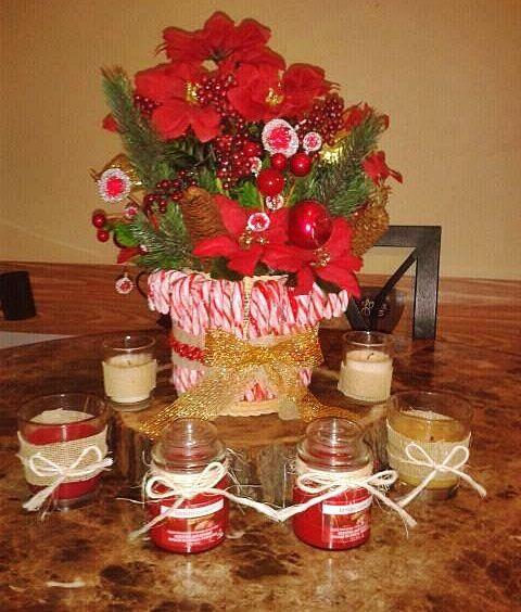 xmas centerpiece vintage candles candy cane poinsettia christmas