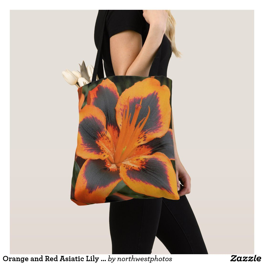 Orange Asiatic Lily Floral Photo Tote Bag
