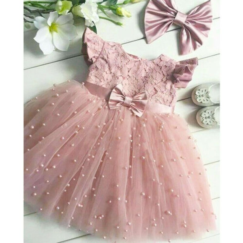 Flower Girl Princess Dress Kids Baby Party Wedding Pageant Lace Crochet Dresses