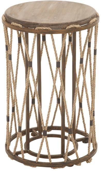 Bayden Hill Metal Wood Rope Accent Tbl 16 W 25 H Side Table