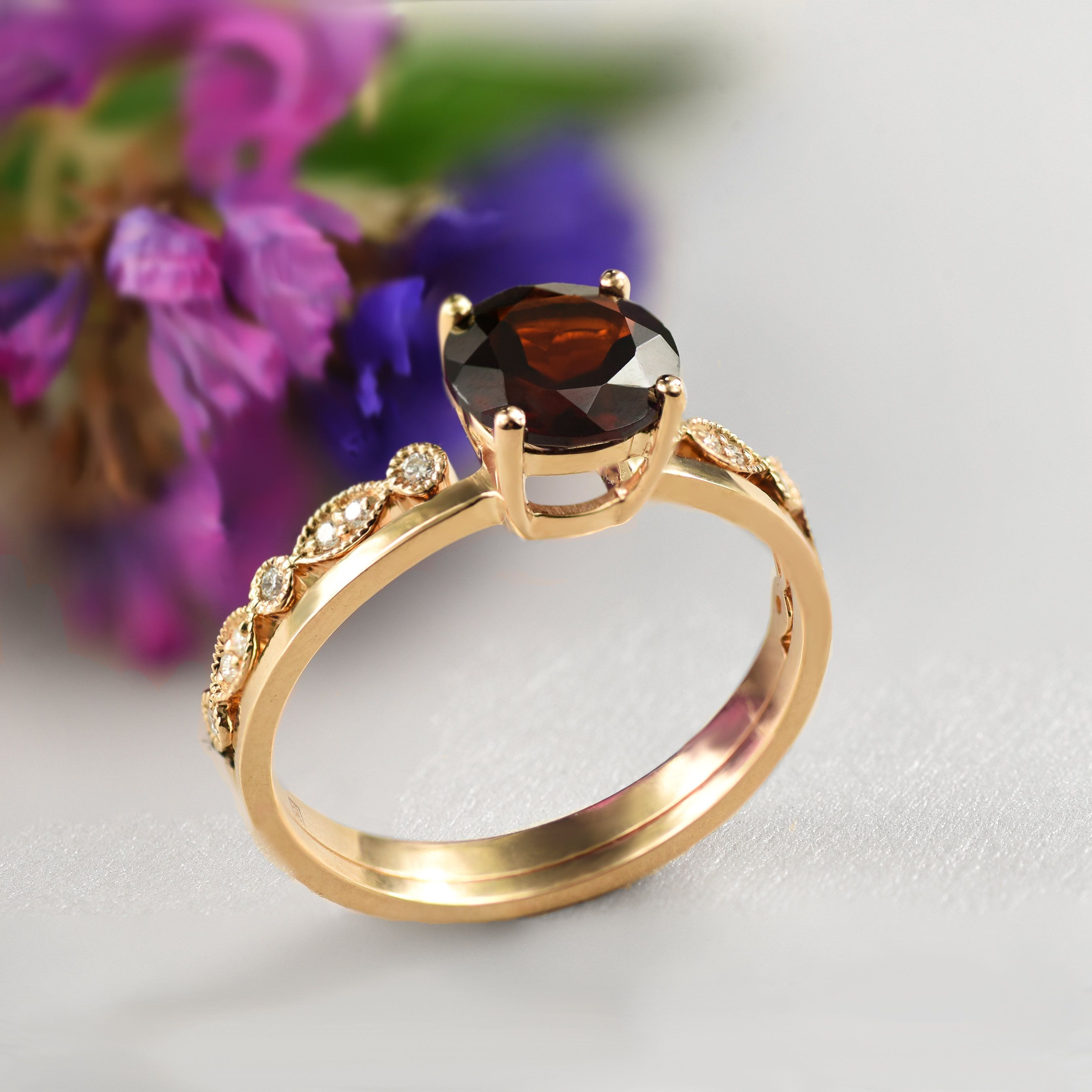 engagement ring, vintage style gold ring