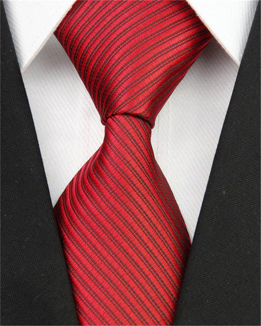 New Men/'s Designer Red Green /& White Striped Silk Tie