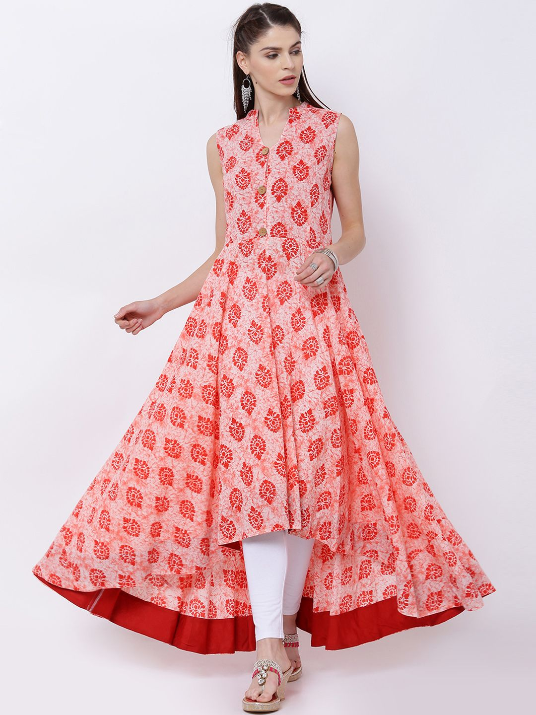 85a63dea681 Vishudu Peach & Cream High Low Printed Anarkali Kurta | Women's ...