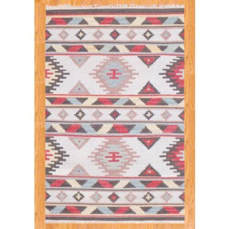 Amazon.com: Herat Oriental 4' x 6' Indo Hand-knotted Kilim Ivory Wool Rug: Home & Kitchen