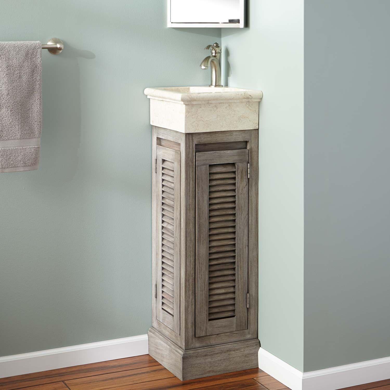 12 Breck Corner Teak Vanity Gray Wash Teak Vanity Corner Sink Bathroom Small Bathroom