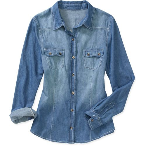 492988c2 Brooke Leigh Womens Denim Button-Up Top... ok, this one is half price from  Walmart. Well played, Yvonne.