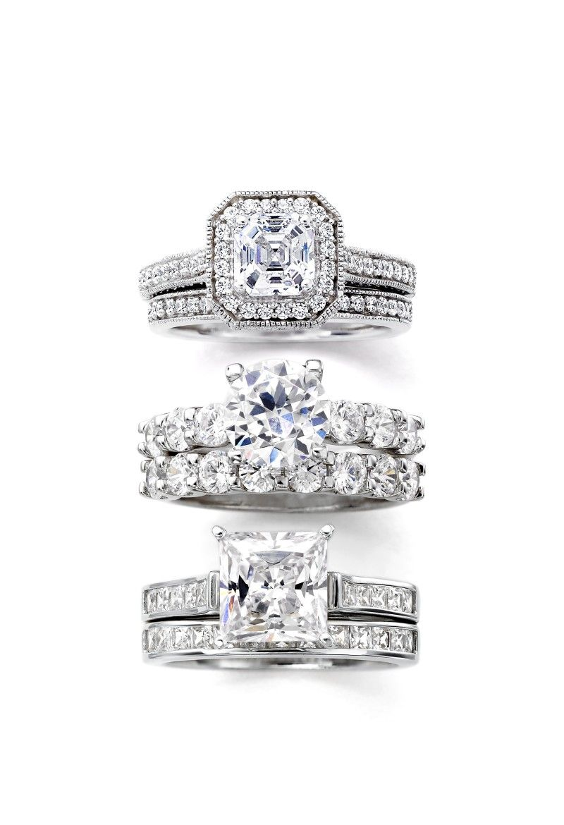 jcpenney wedding ring sets DiamonArt cubic zirconia asscher round or princess bridal ring sets jcp com top