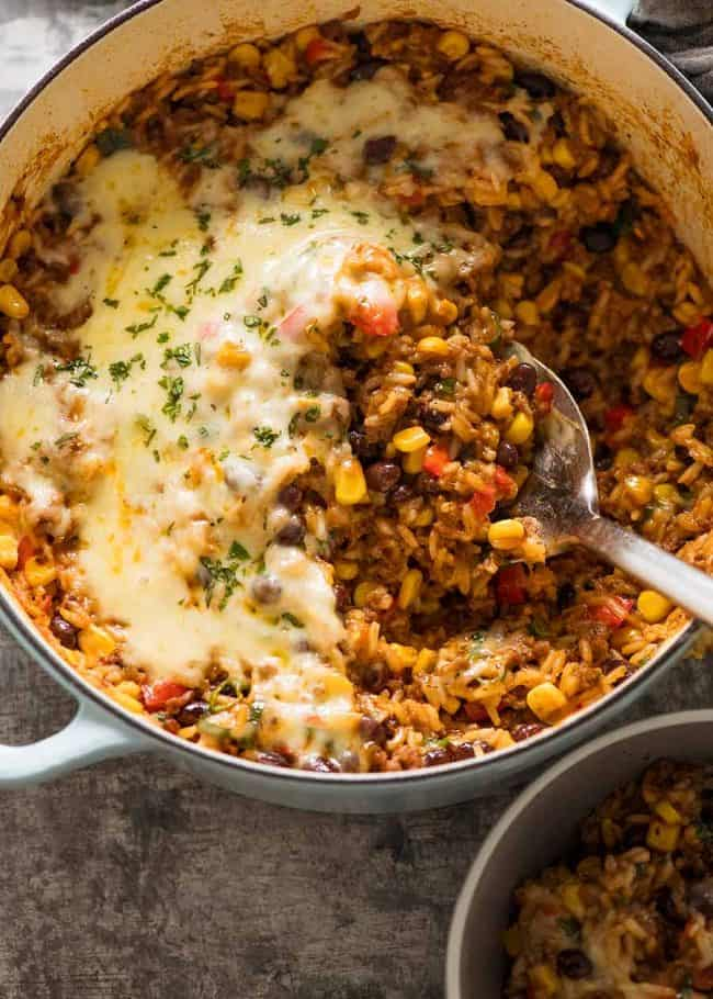 Mexican Ground Beef Casserole With Rice Beef Mince Recipe In 2020 Mexican Ground Beef Casserole Minced Beef Recipes Dinner With Ground Beef