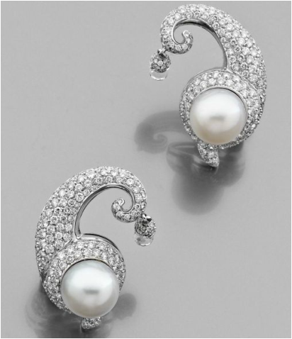 A PAIR OF DIAMOND, CULTURED PEARL, ROCK CRYSTAL AND WHITE GOLD EAR CLIPS