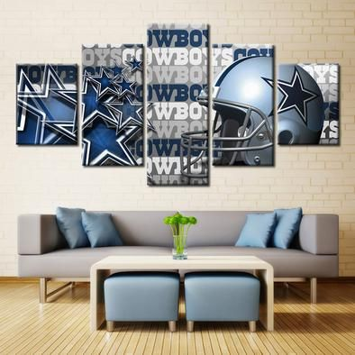 e063135f8a Dallas Cowboys Helmet NFL Football 5 Panel Canvas Wall Art Home Decor