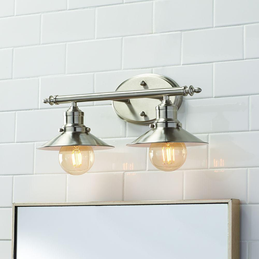 Home Decorators Collection 2 Light Brushed Nickel Retro
