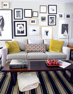 Cute Living Room Set Up With Salon Style Art Display