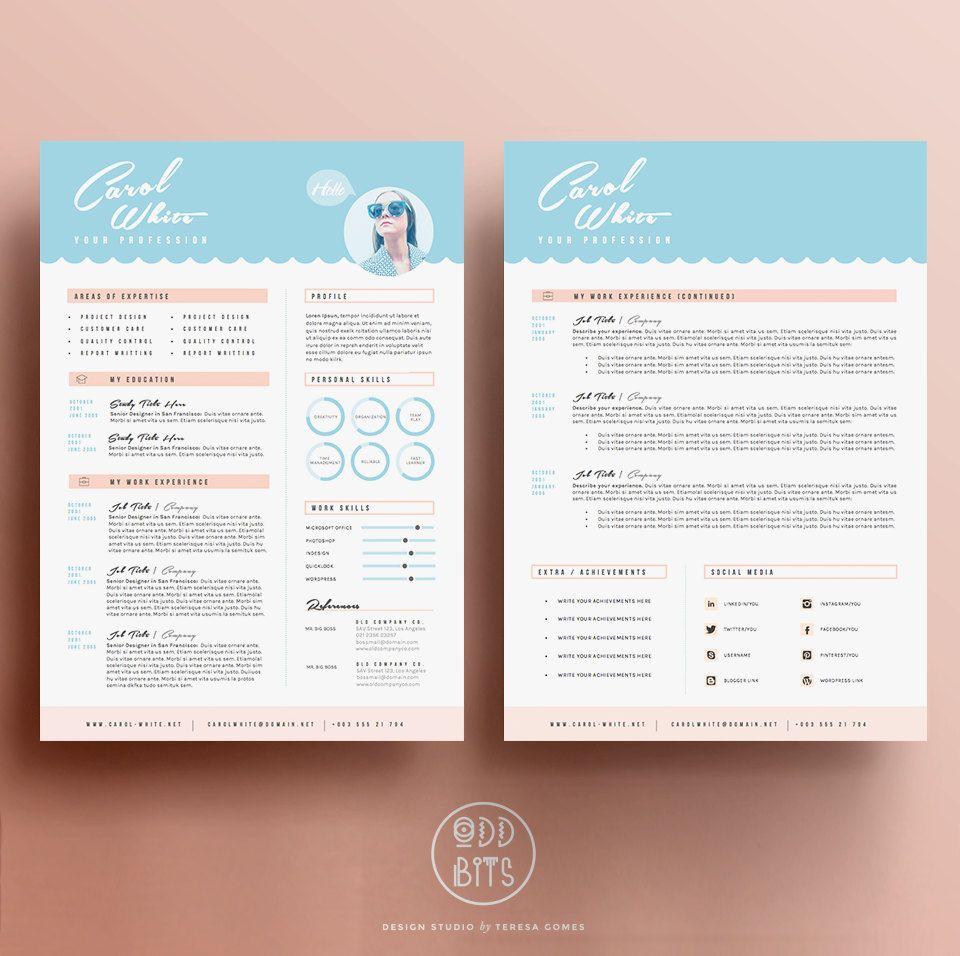 Resume CV Design Cover Letter Template for Word by OddBitsStudio ...