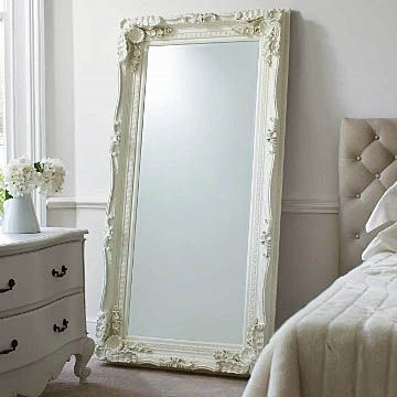 carved floor standing mirror - cream - oversized leaner | primrose