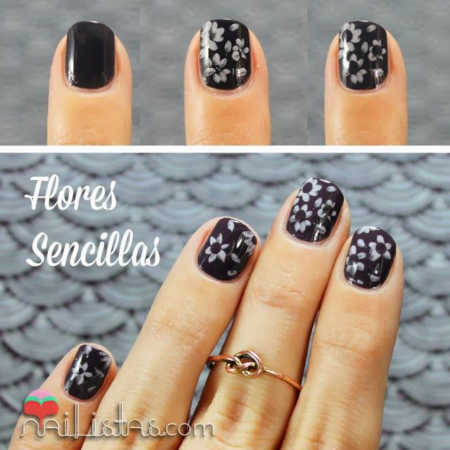Nail Flowers DIY step by step | Decoración de uñas sencilla paso a ...