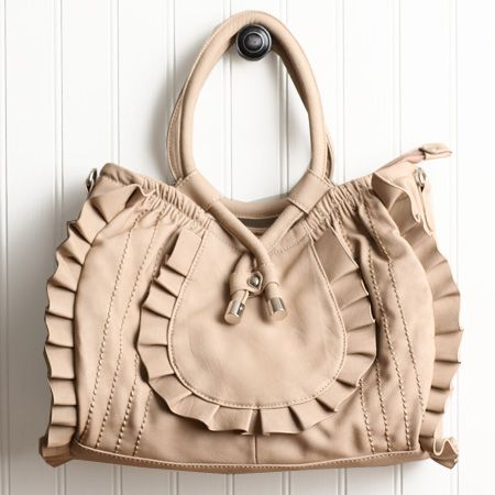 Meara Beige Ruffle Handbag By Imoshion