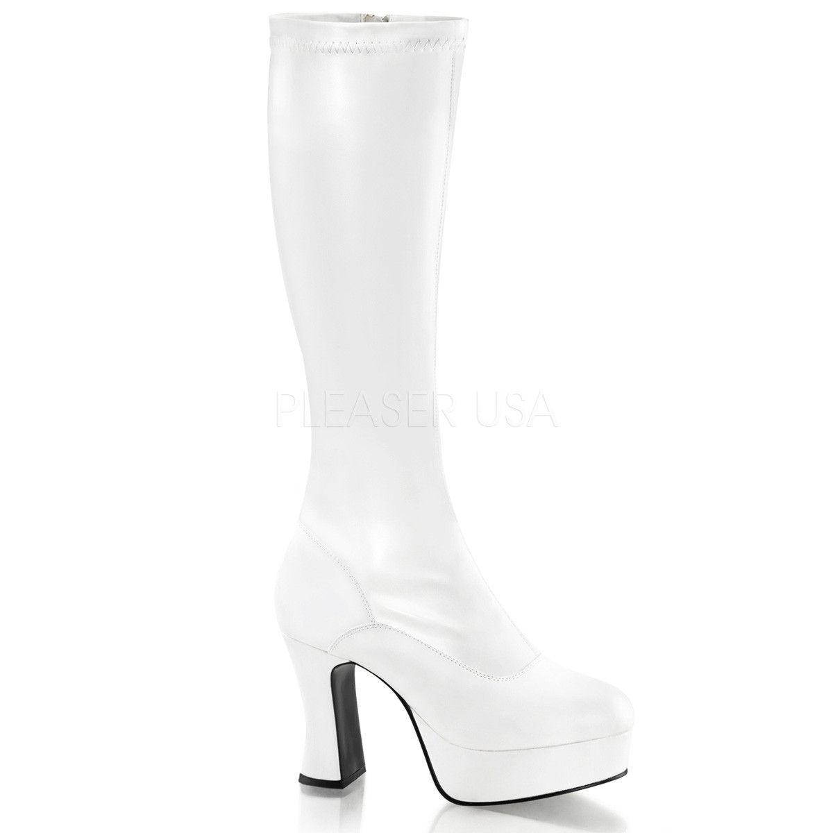 e2fddc28b7d3 FUNTASMA EXOTICA-2000 White Stretch Pu Knee High Boots