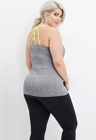 8a62634b9f Plus Size Heathered Crisscross Athletic Top