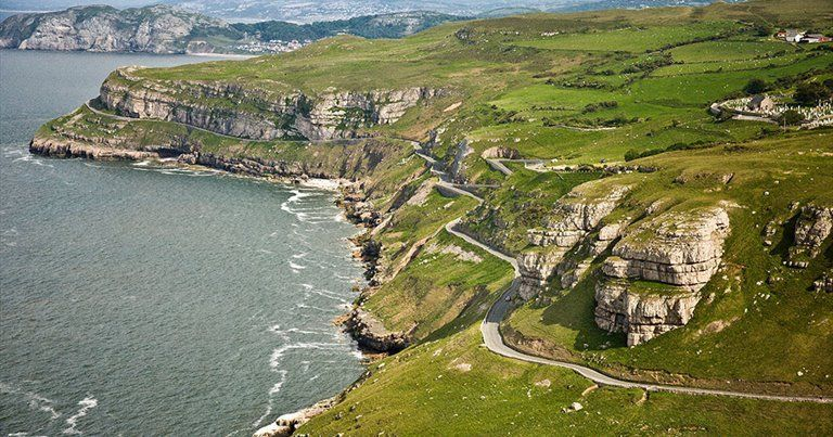 """the great orme ▴ llandudno, conwy county borough, wales """"the great orme is a limestone headland overlooking the irish sea. its english name derives from the viking word for sea serpent, which it is... #irishsea"""
