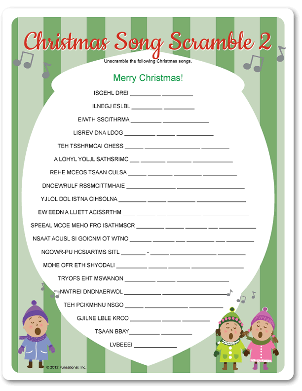 Printable Christmas Song Scramble 2 - Funsational.com ...