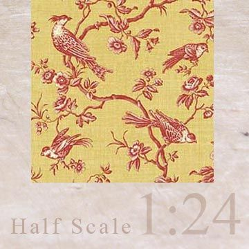 """3x Wallpaper """"Bird Toile"""" (yellow gold, red) 1/24"""