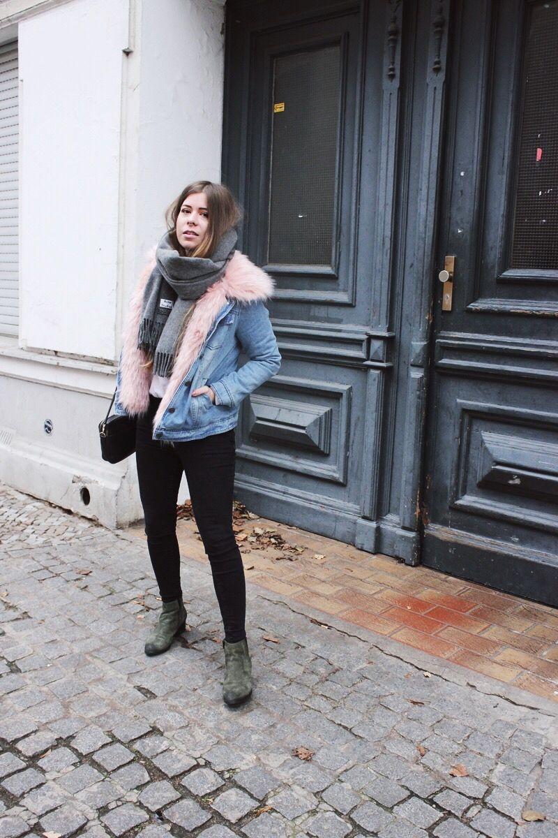 d05e4ecbd03 Denim Jacket With Pink Fake Fur Collar ~ dontbearunaway