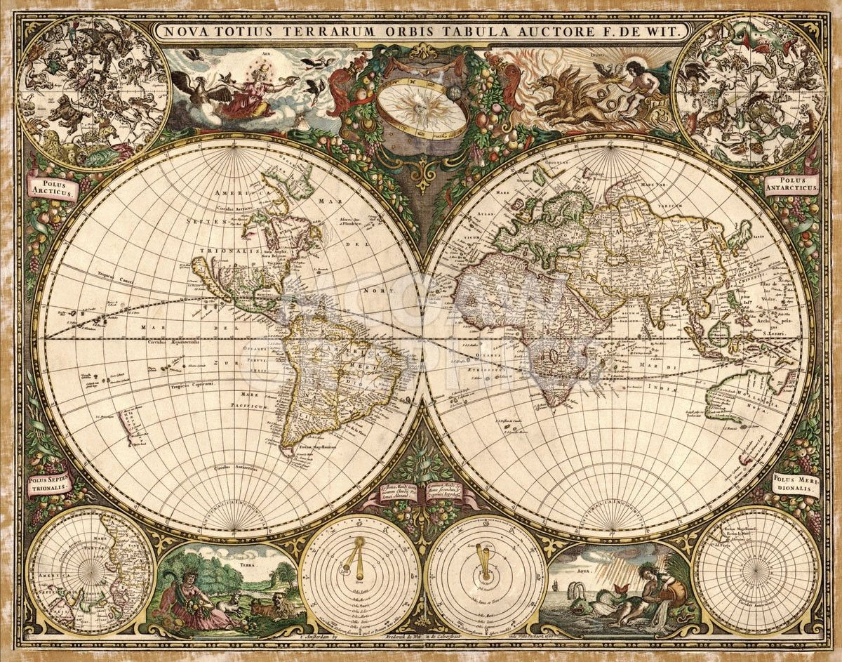 Antique World Map Tapestry.World Map 1660 Products Pinterest Map Old World Maps And