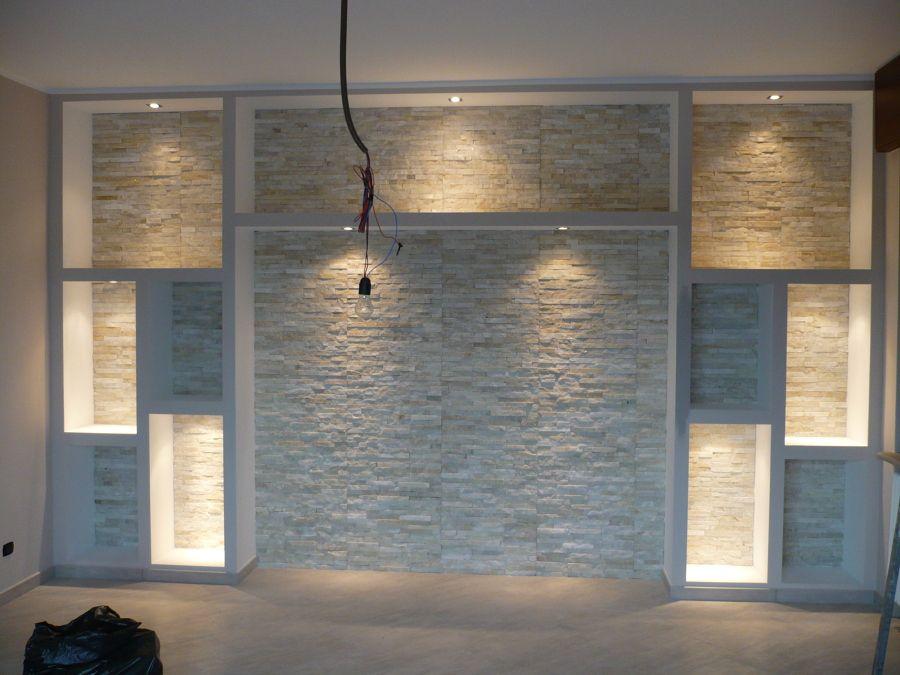 parete rivestita in pietra e realizzazione cartongesso ...